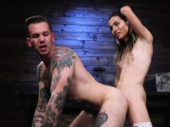 Tall tranny sucks and anal fucks inked guy