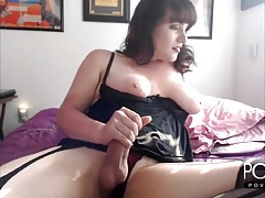 Chubby Transgirl jerking in stockings