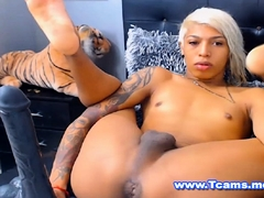 Ebony Teen Tranny Playing BBC Dildo