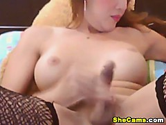 Cute Shemale Plays her Hard Cock Upclose