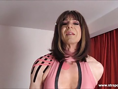 Crossdresser slut wanks big cock as hot femdom fucks her ass