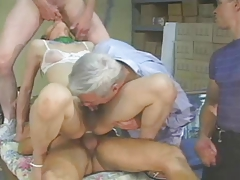 Chinese T-girl receives 3 guys - old man sucks all the CUM
