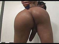 Tranny Jo Garcia Oils up and Jerks her Big Cock