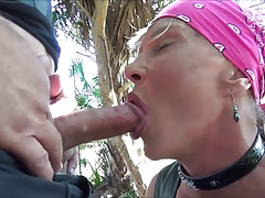slut bicker chick swallow outside