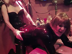 Latex Slut pegged hard and then sucks strapon!