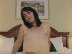Smaltitted femboy solo masturbating her cock