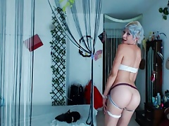 Femboy with blue hair and hot body on webcam